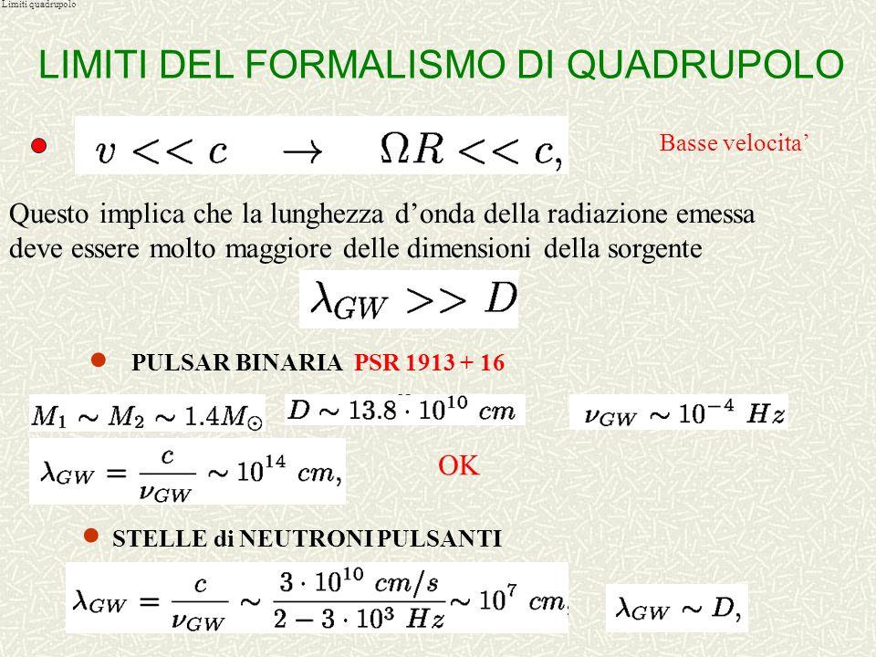 Formalismo di quadrupolo Come stimare lenergia emessa in onde gravitazionali da un sistema che si sta evolvendo dinamicamente FORMALISMO DI QUADRUPOLO
