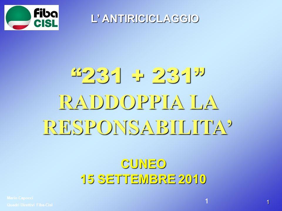 11 231 + 231 RADDOPPIA LA RESPONSABILITA Mario Capocci Quadri Direttivi Fiba-Cisl L ANTIRICICLAGGIO CUNEO 15 SETTEMBRE 2010