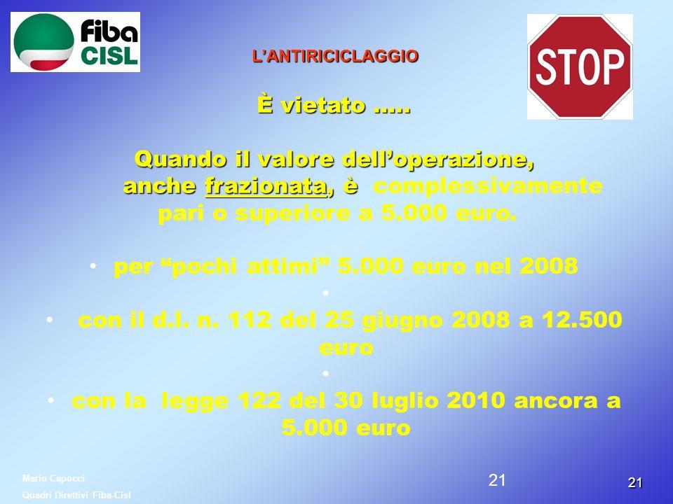 2121 LANTIRICICLAGGIO È vietato ….. Quando il valore delloperazione, anche frazionata, è anche frazionata, è complessivamente pari o superiore a 5.000