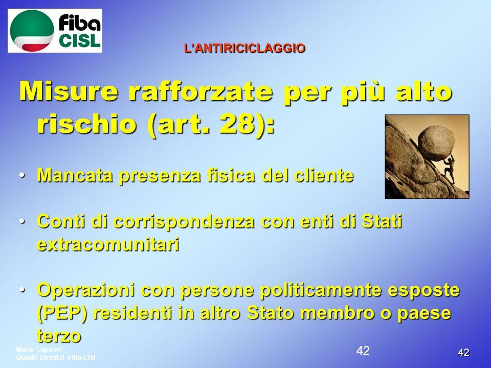 4242 LANTIRICICLAGGIO Misure rafforzate per più alto rischio (art. 28): Mancata presenza fisica del clienteMancata presenza fisica del cliente Conti d
