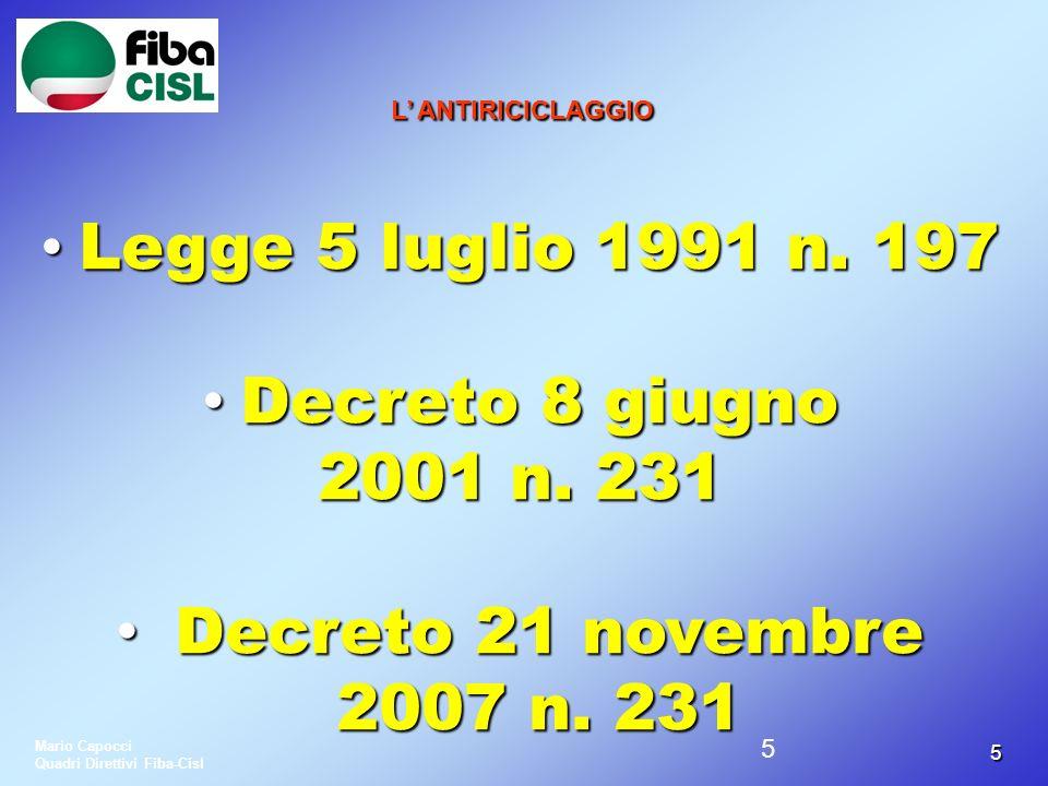 4646 LANTIRICICLAGGIO LUNITA DI INFORMAZIONE FINANZIARIA (U.I.F.) LUNITA DI INFORMAZIONE FINANZIARIA (U.I.F.) ISTITUITO AL POSTO DELLUFFICIO ITALIANO CAMBI (U.I.C.) CON DECRETO 1 GENNAIO 2008ISTITUITO AL POSTO DELLUFFICIO ITALIANO CAMBI (U.I.C.) CON DECRETO 1 GENNAIO 2008 OPERA IN SENO ALLA BANCA DITALIAOPERA IN SENO ALLA BANCA DITALIA Mario Capocci Quadri Direttivi Fiba-Cisl