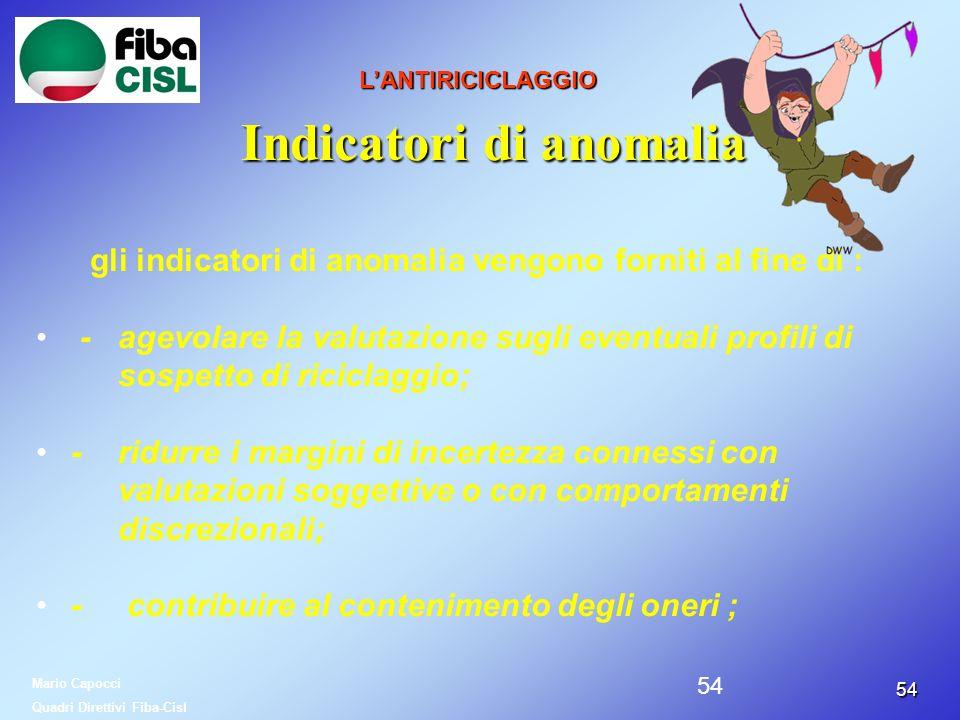 5454 LANTIRICICLAGGIO Indicatori di anomalia gli indicatori di anomalia vengono forniti al fine di : - agevolare la valutazione sugli eventuali profil