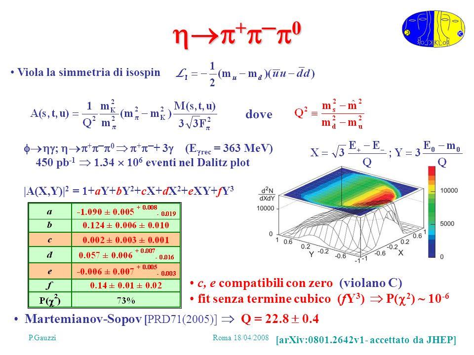 P.GauzziRoma 18/04/2008 28 + 0 + 0 Martemianov-Sopov [PRD71(2005)] Q = 22.8 0.4 ; + 0 + + 3 (E rec = 363 MeV) 450 pb -1 1.34 10 6 eventi nel Dalitz plot |A(X,Y)| 2 = 1+aY+bY 2 +cX+dX 2 +eXY+fY 3 Viola la simmetria di isospin dove c, e compatibili con zero (violano C) fit senza termine cubico (fY 3 ) P( 2 ) 10 -6 [arXiv:0801.2642v1- accettato da JHEP]