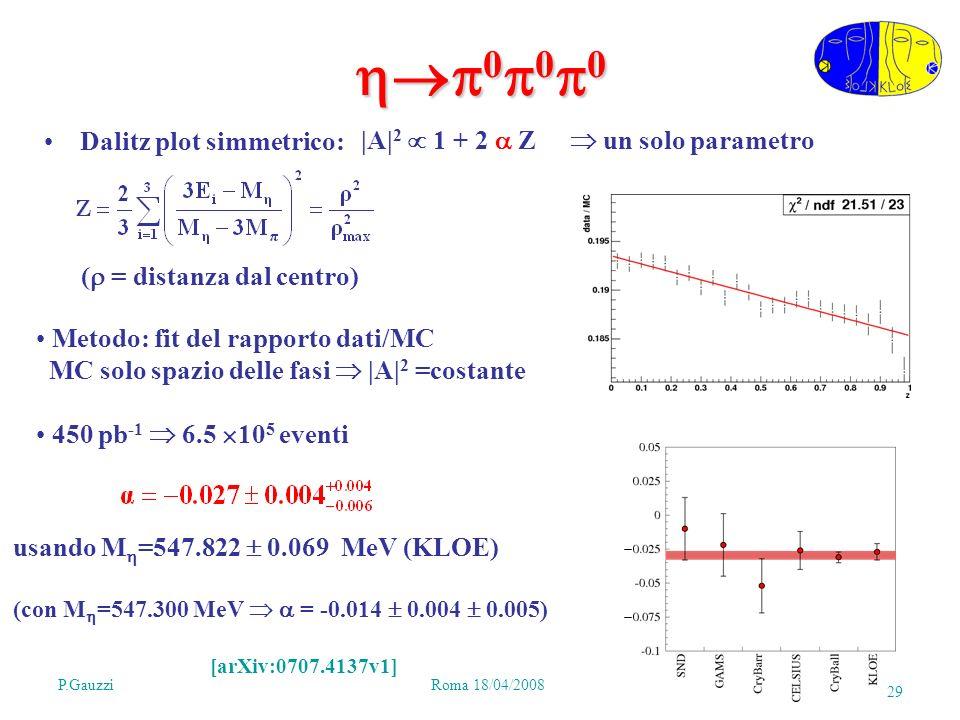 P.GauzziRoma 18/04/2008 29 0 0 0 0 0 0 Dalitz plot simmetrico: |A| 2 1 + 2 Z un solo parametro ( = distanza dal centro) Metodo: fit del rapporto dati/MC MC solo spazio delle fasi |A| 2 =costante 450 pb -1 6.5 10 5 eventi usando M =547.822 0.069 MeV (KLOE) (con M =547.300 MeV = -0.014 0.004 0.005) [arXiv:0707.4137v1]
