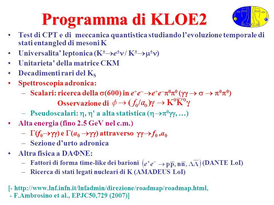 P.GauzziRoma 18/04/2008 36 Programma di KLOE2 Test di CPT e di meccanica quantistica studiando levoluzione temporale di stati entangled di mesoni K Universalita leptonica (K e / K ) Unitarieta della matrice CKM Decadimenti rari del K S Spettroscopia adronica: –Scalari: ricerca della (600) in e + e e + e 0 0 ( 0 0 ) Osservazione di –Pseudoscalari:, a alta statistica ( 0, …) Alta energia (fino 2.5 GeV nel c.m.) – (f 0 ) e (a 0 ) attraverso f 0,a 0 –Sezione durto adronica Altra fisica a DA NE: –Fattori di forma time-like dei barioni (DANTE LoI) –Ricerca di stati legati nucleari di K (AMADEUS LoI) [- http://www.lnf.infn.it/lnfadmin/direzione/roadmap/roadmap.html, - F.Ambrosino et al., EPJC50,729 (2007)]
