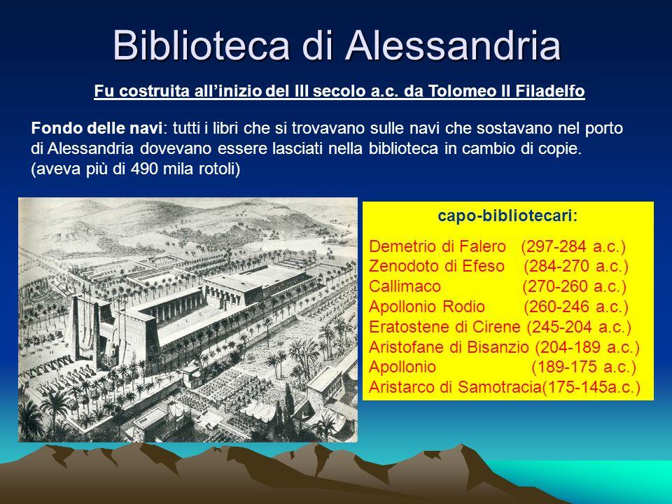 Biblioteca di Alessandria Fu costruita allinizio del III secolo a.c. da Tolomeo II Filadelfo Fondo delle navi: tutti i libri che si trovavano sulle na