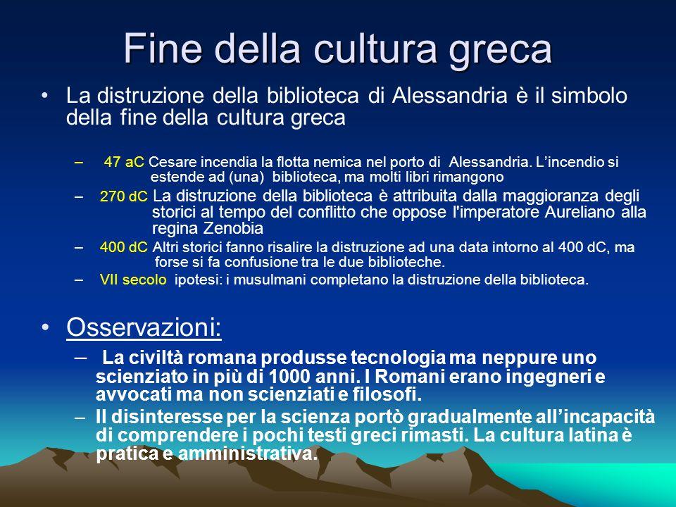 Fine della cultura greca La distruzione della biblioteca di Alessandria è il simbolo della fine della cultura greca – 47 aC Cesare incendia la flotta