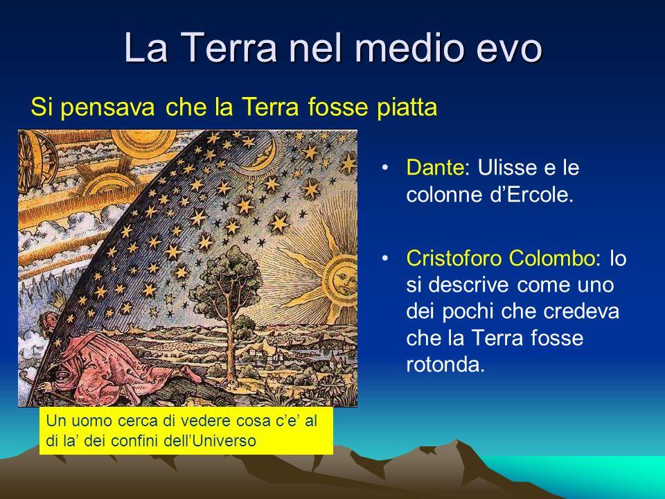 La Terra nel medio evo Dante: Ulisse e le colonne dErcole. Cristoforo Colombo: lo si descrive come uno dei pochi che credeva che la Terra fosse rotond
