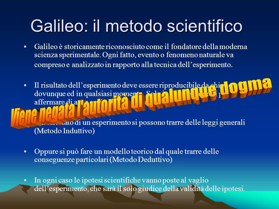 Galileo: il metodo scientifico Galileo è storicamente riconosciuto come il fondatore della moderna scienza sperimentale. Ogni fatto, evento o fenomeno