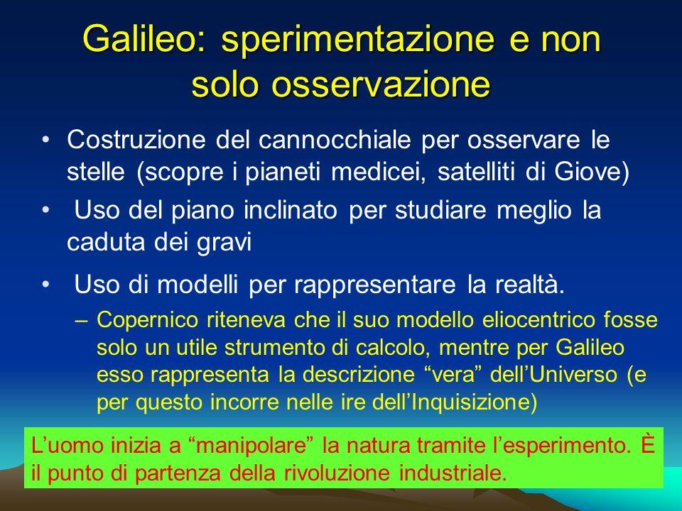 Galileo: sperimentazione e non solo osservazione Costruzione del cannocchiale per osservare le stelle (scopre i pianeti medicei, satelliti di Giove) U