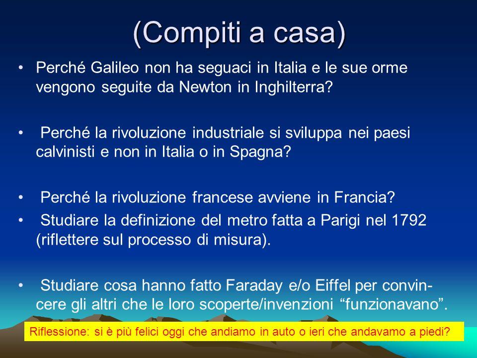 (Compiti a casa) Perché Galileo non ha seguaci in Italia e le sue orme vengono seguite da Newton in Inghilterra? Perché la rivoluzione industriale si
