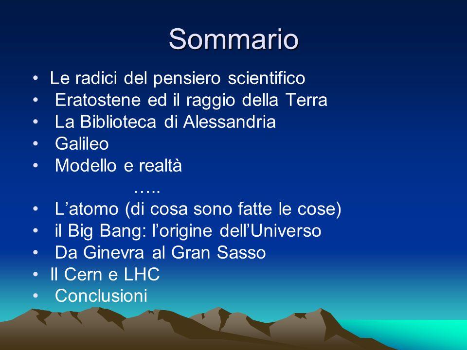 Sommario Le radici del pensiero scientifico Eratostene ed il raggio della Terra La Biblioteca di Alessandria Galileo Modello e realtà ….. Latomo (di c