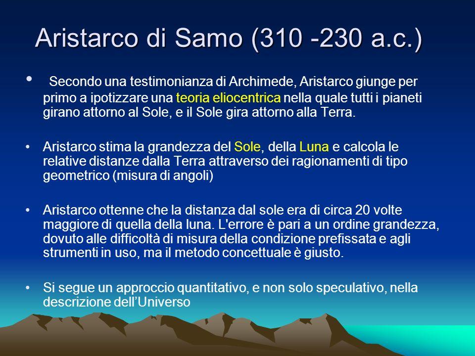Aristarco di Samo (310 -230 a.c.) Secondo una testimonianza di Archimede, Aristarco giunge per primo a ipotizzare una teoria eliocentrica nella quale