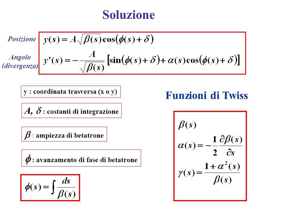 Soluzione A, : costanti di integrazione : ampiezza di betatrone : avanzamento di fase di betatrone Funzioni di Twiss y : coordinata trasversa (x o y)