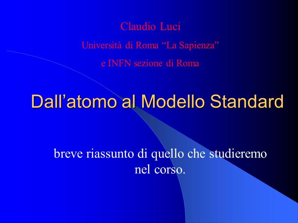 Dallatomo al Modello Standard breve riassunto di quello che studieremo nel corso. Claudio Luci Università di Roma La Sapienza e INFN sezione di Roma