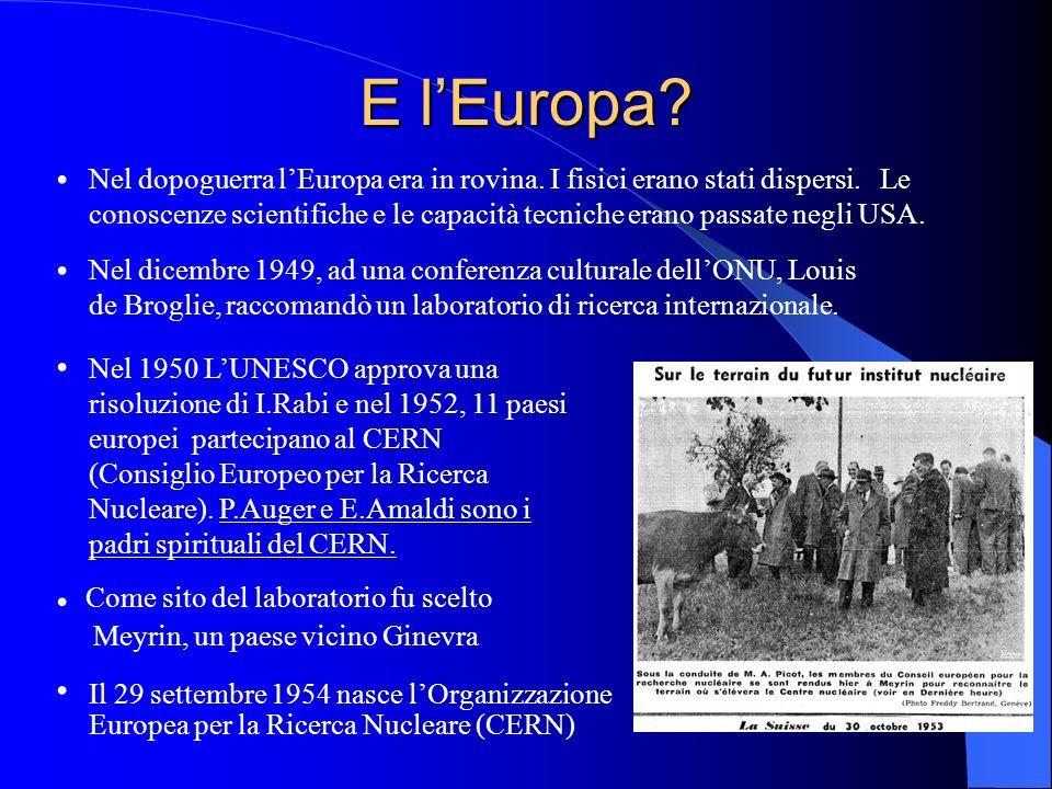 E lEuropa? Nel dopoguerra lEuropa era in rovina. I fisici erano stati dispersi. Le conoscenze scientifiche e le capacità tecniche erano passate negli