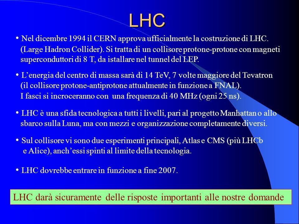 LHC Nel dicembre 1994 il CERN approva ufficialmente la costruzione di LHC. (Large Hadron Collider). Si tratta di un collisore protone-protone con magn