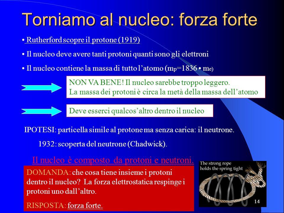Torniamo al nucleo: forza forte Il nucleo deve avere tanti protoni quanti sono gli elettroni Il nucleo contiene la massa di tutto latomo (m p =1836 m