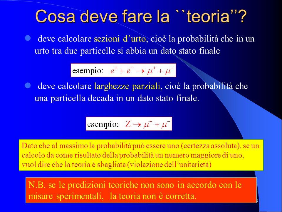 Cosa deve fare la ``teoria? deve calcolare sezioni durto, cioè la probabilità che in un urto tra due particelle si abbia un dato stato finale deve cal