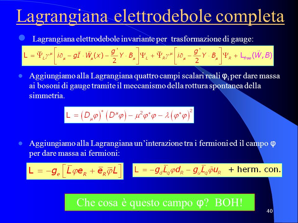 Lagrangiana elettrodebole invariante per trasformazione di gauge: Aggiungiamo alla Lagrangiana quattro campi scalari reali φ i per dare massa ai boson