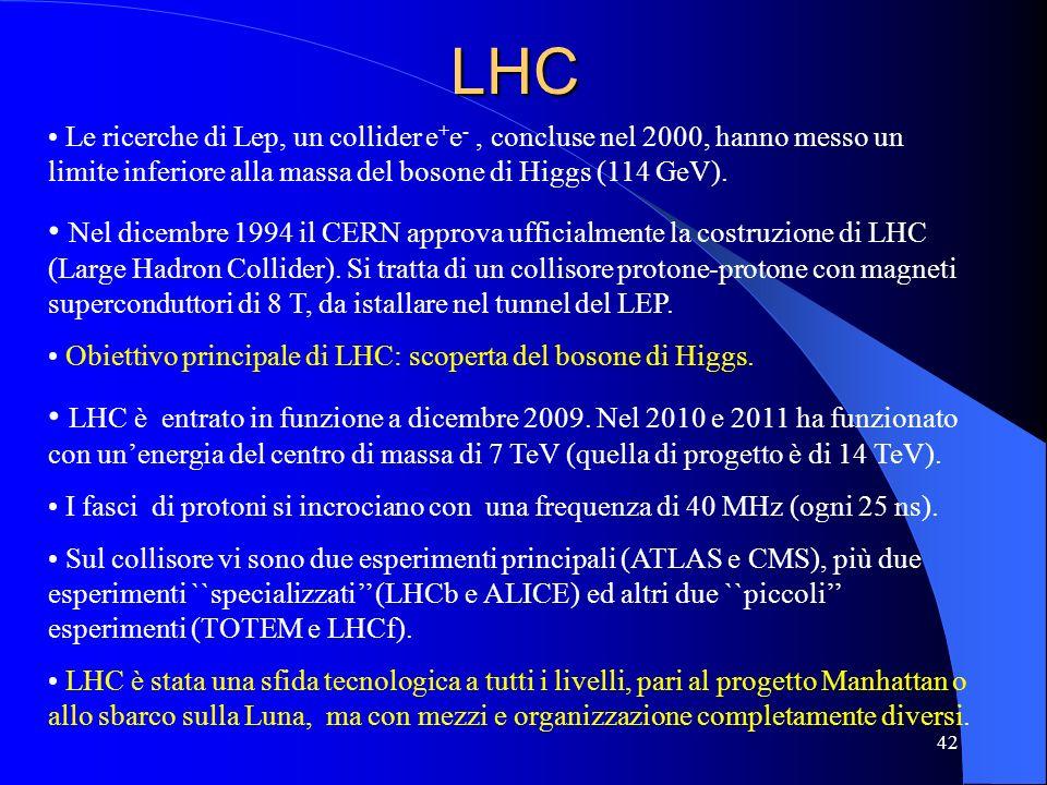 LHC Le ricerche di Lep, un collider e + e -, concluse nel 2000, hanno messo un limite inferiore alla massa del bosone di Higgs (114 GeV). Nel dicembre