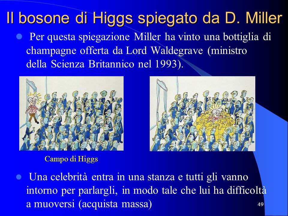 Il bosone di Higgs spiegato da D. Miller Per questa spiegazione Miller ha vinto una bottiglia di champagne offerta da Lord Waldegrave (ministro della