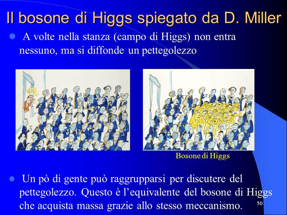 Il bosone di Higgs spiegato da D. Miller A volte nella stanza (campo di Higgs) non entra nessuno, ma si diffonde un pettegolezzo Un pò di gente può ra