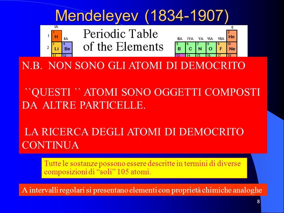 Mendeleyev (1834-1907) Tutte le sostanze possono essere descritte in termini di diverse composizioni di soli 105 atomi. A intervalli regolari si prese