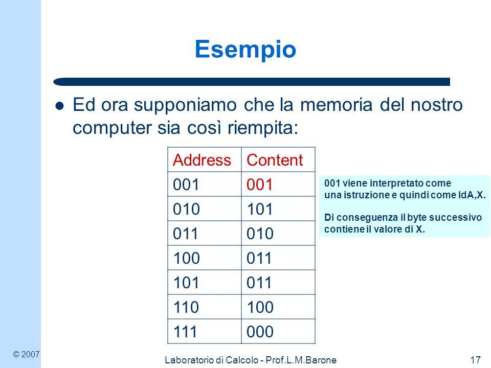 © 2007 Laboratorio di Calcolo - Prof.L.M.Barone18 Esempio Ed ora supponiamo che la memoria del nostro computer sia così riempita: AddressContent 001 010101 011010 100011 101011 110100 111000 101 (5) viene dunque caricato nel registro A – e un DATO