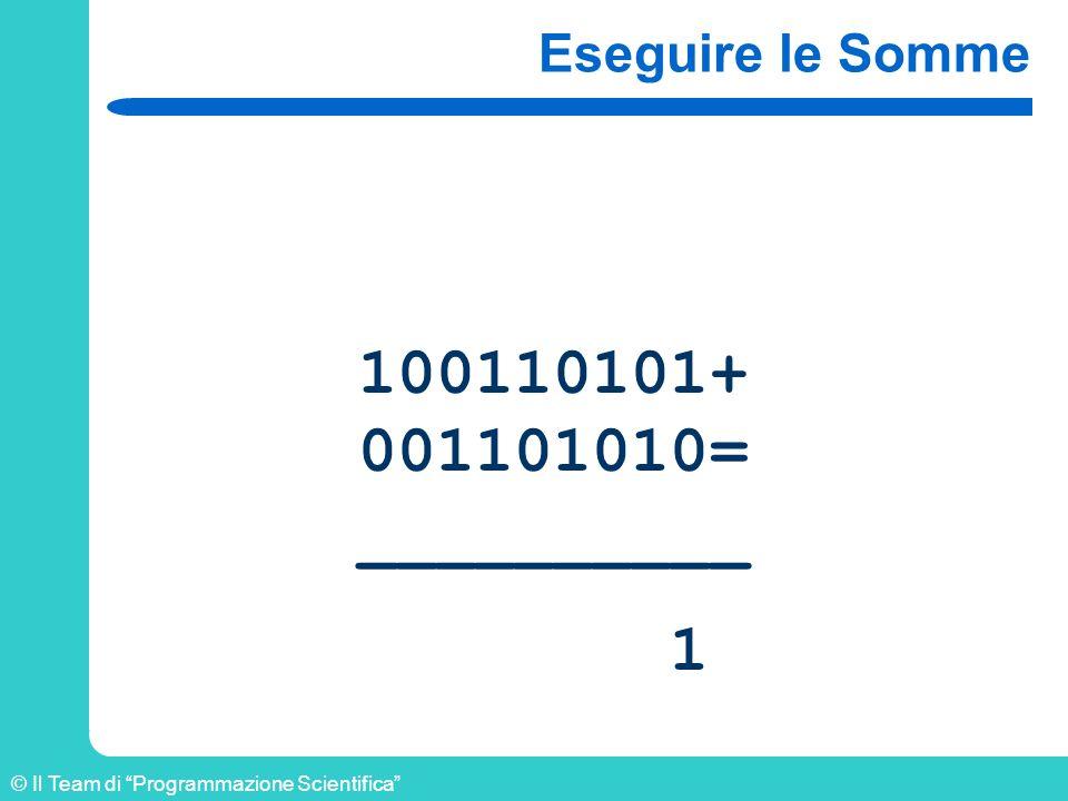 © Il Team di Programmazione Scientifica Eseguire le Somme 100110101+ 001101010= __________ 1
