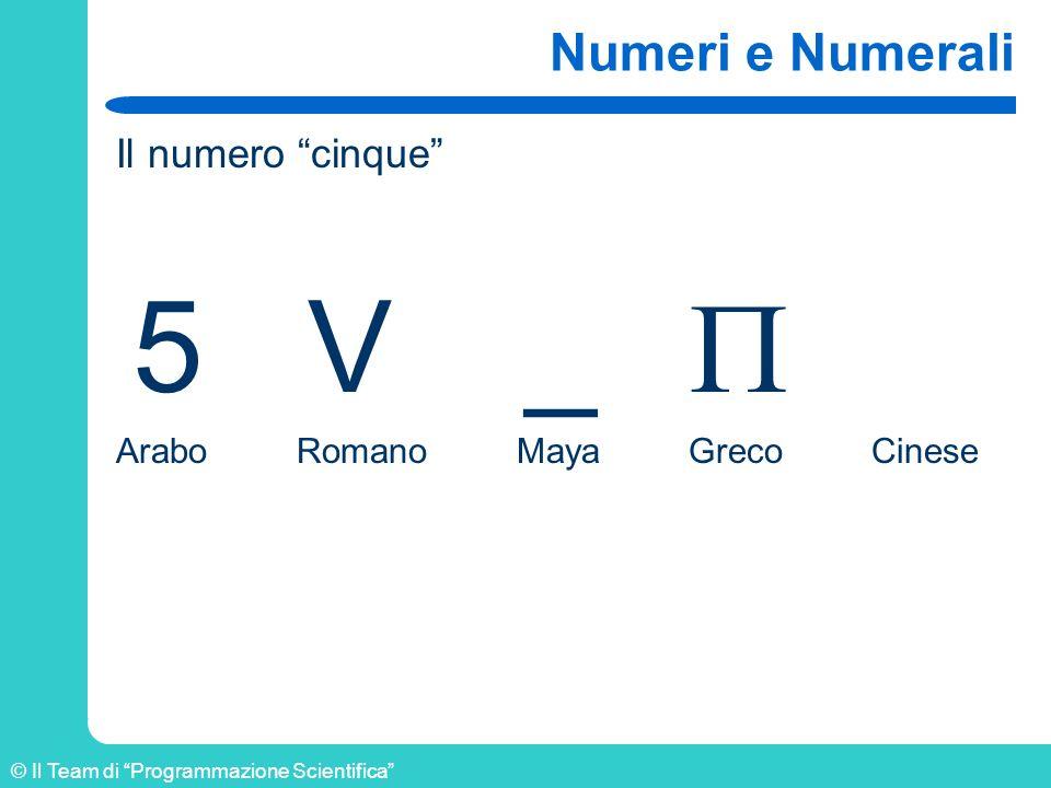 © Il Team di Programmazione Scientifica Numeri in complemento a 10 Il complemento di un numero si ottiene scrivendo il complemento delle cifre e aggiungendo 1 Il complemento della cifra è il numero che manca per avere il valore della base –1 Esempi: – 8 1 – 3 6 – 9 0 – 0 9 1849+ 8150= _____ 9999+ 1= _____ 10000