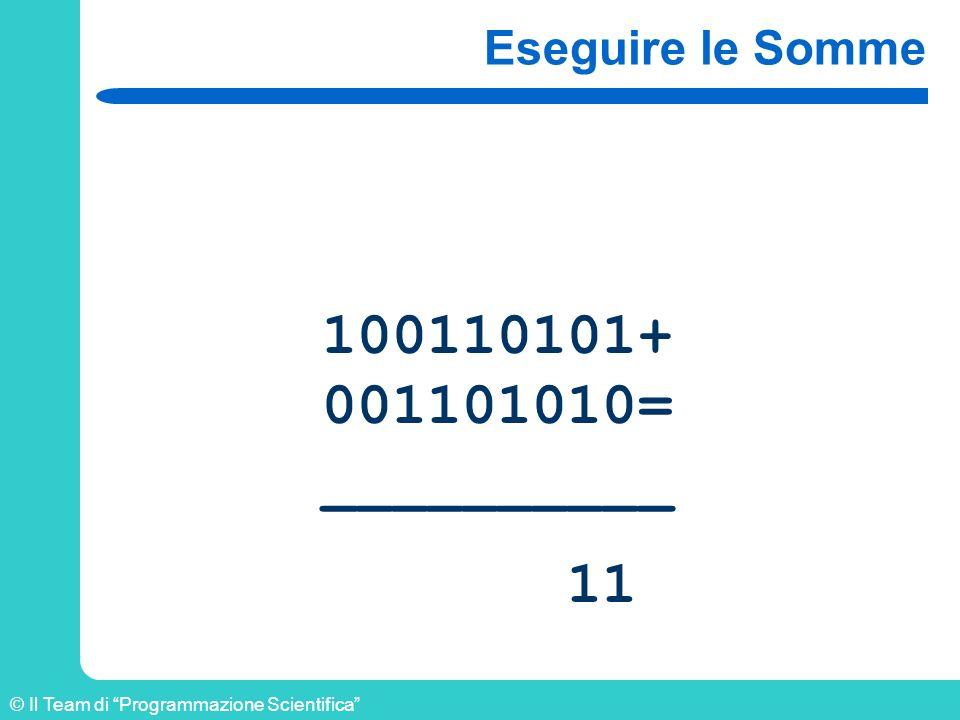 © Il Team di Programmazione Scientifica Eseguire le Somme 100110101+ 001101010= __________ 11