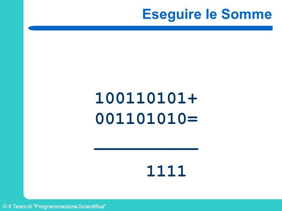© Il Team di Programmazione Scientifica Eseguire le Somme 100110101+ 001101010= __________ 1111