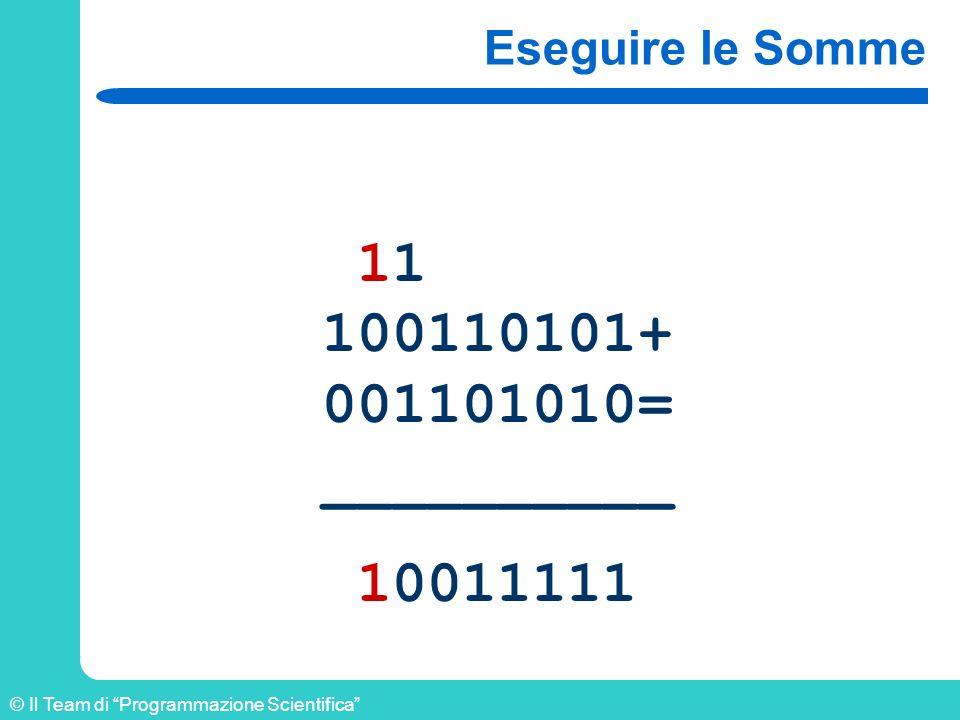 © Il Team di Programmazione Scientifica Eseguire le Somme 11 100110101+ 001101010= __________ 10011111