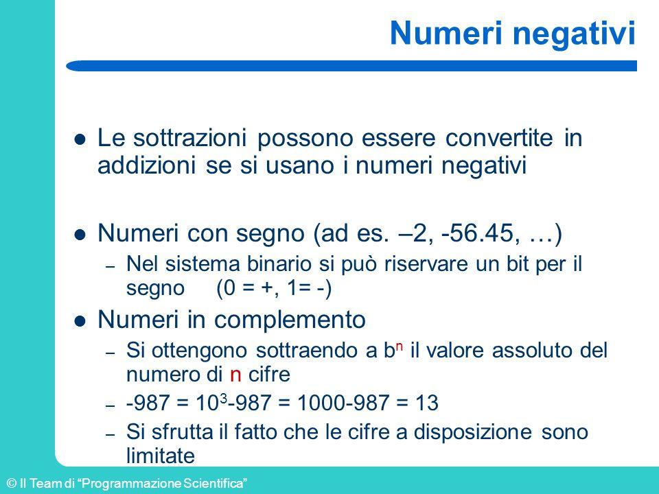 © Il Team di Programmazione Scientifica Numeri negativi Le sottrazioni possono essere convertite in addizioni se si usano i numeri negativi Numeri con