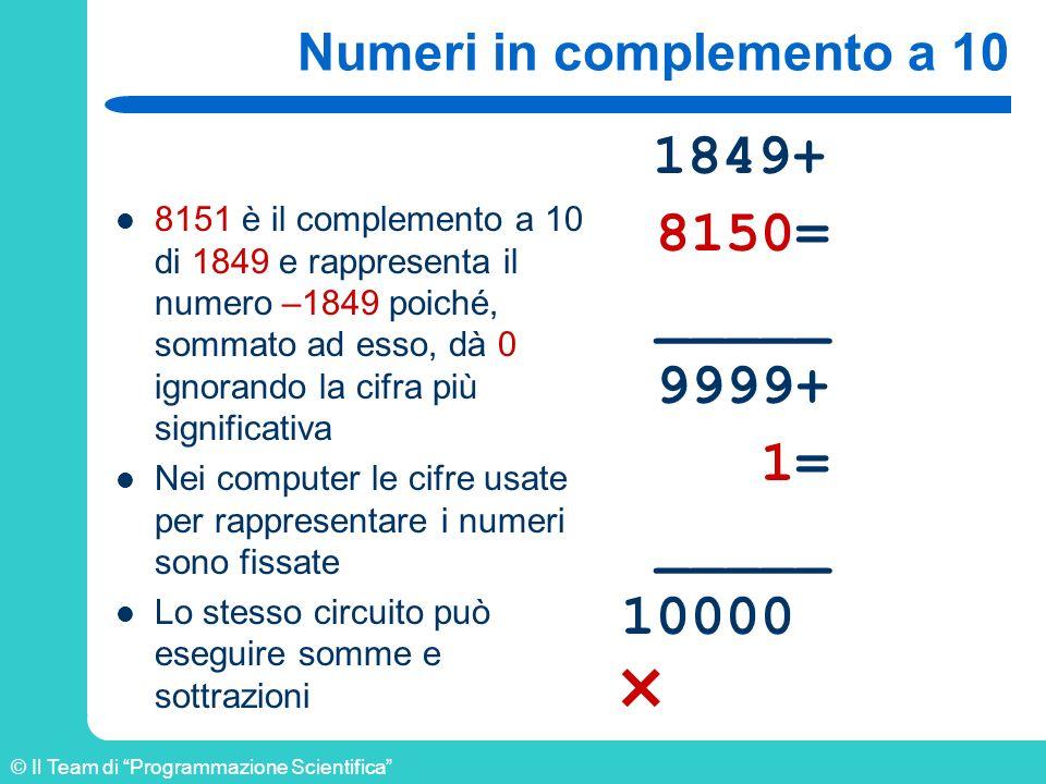 © Il Team di Programmazione Scientifica Numeri in complemento a 10 8151 è il complemento a 10 di 1849 e rappresenta il numero –1849 poiché, sommato ad