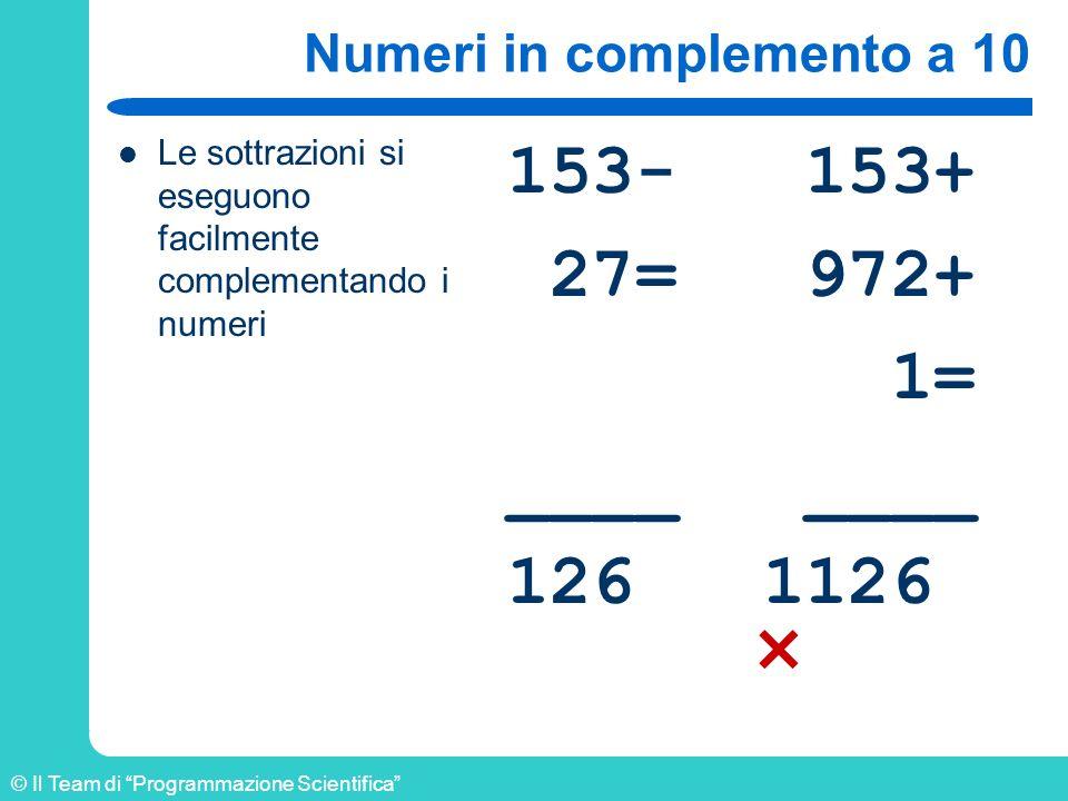 © Il Team di Programmazione Scientifica Numeri in complemento a 10 Le sottrazioni si eseguono facilmente complementando i numeri 153- 153+ 27= 972+ 1=