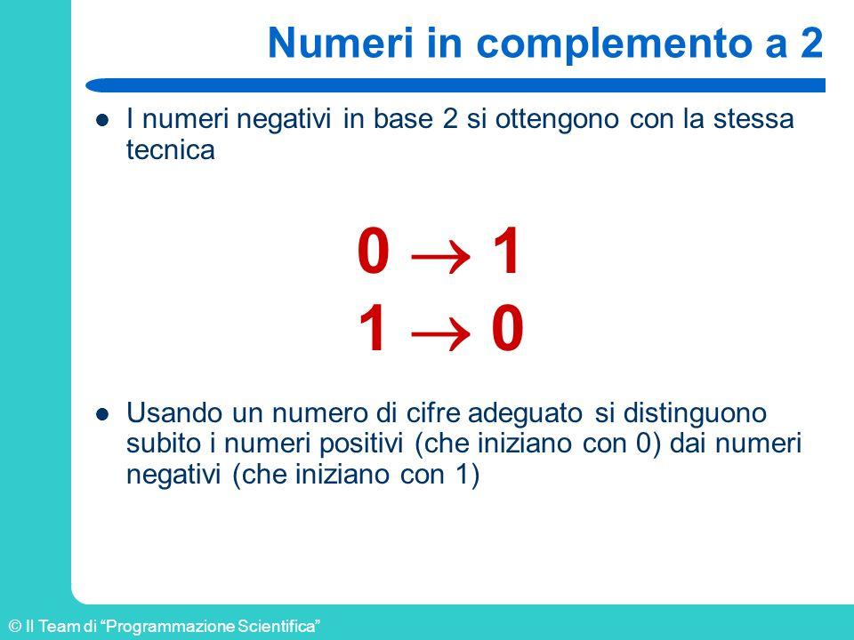 © Il Team di Programmazione Scientifica Numeri in complemento a 2 I numeri negativi in base 2 si ottengono con la stessa tecnica Usando un numero di c