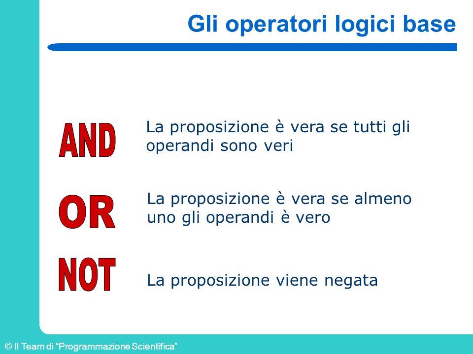 © Il Team di Programmazione Scientifica Gli operatori logici base La proposizione è vera se tutti gli operandi sono veri La proposizione è vera se alm