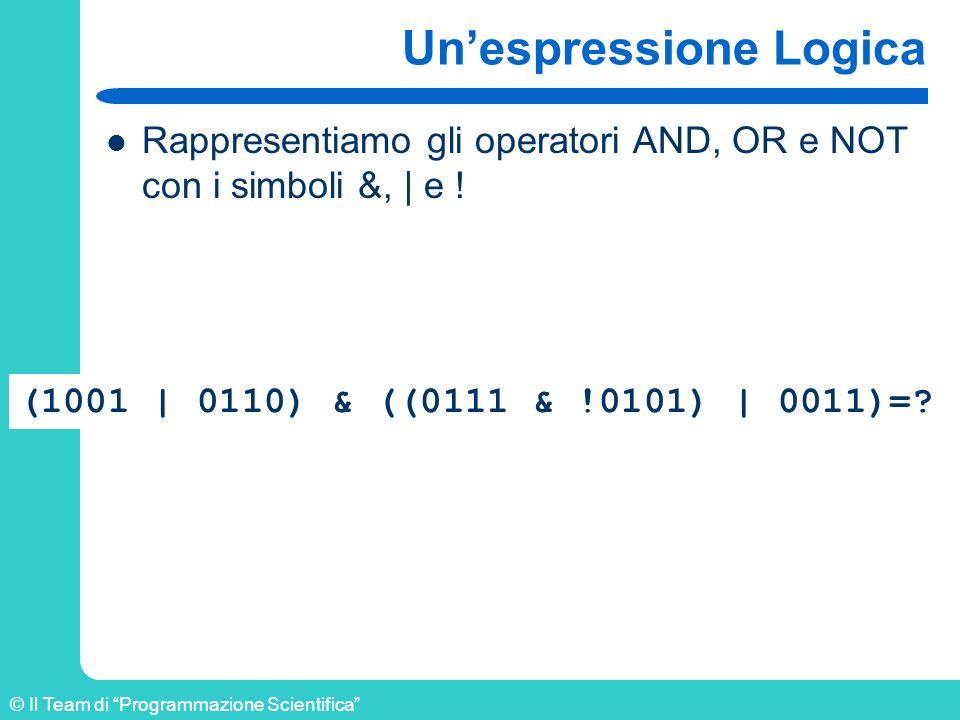 © Il Team di Programmazione Scientifica Unespressione Logica Rappresentiamo gli operatori AND, OR e NOT con i simboli &,   e ! (1001   0110) & ((0111