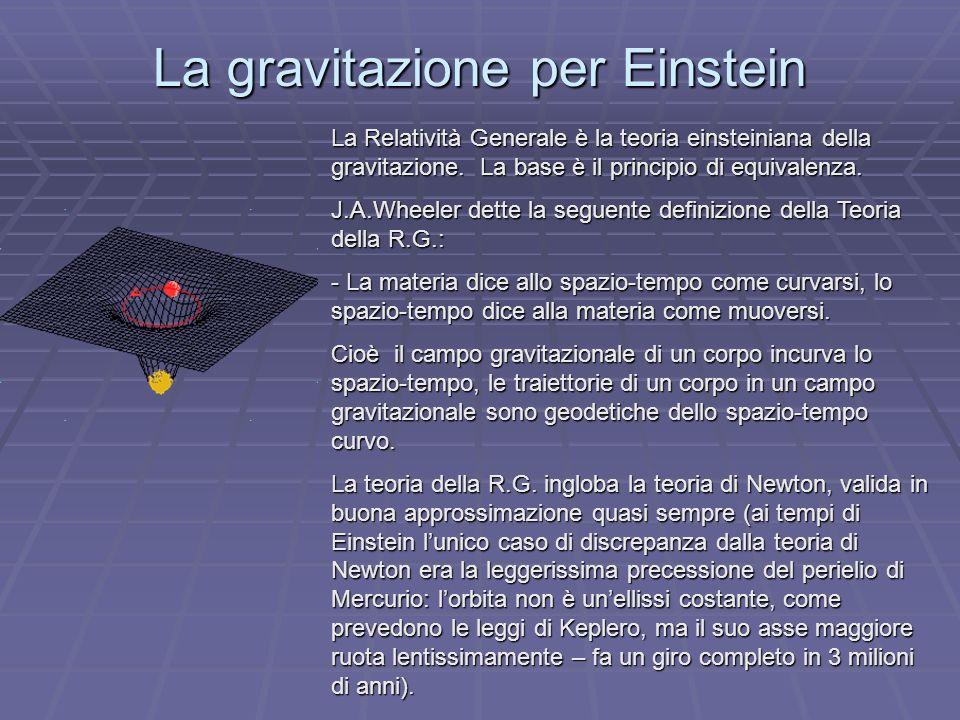 La gravitazione per Einstein La Relatività Generale è la teoria einsteiniana della gravitazione. La base èil principio di equivalenza. La Relatività G