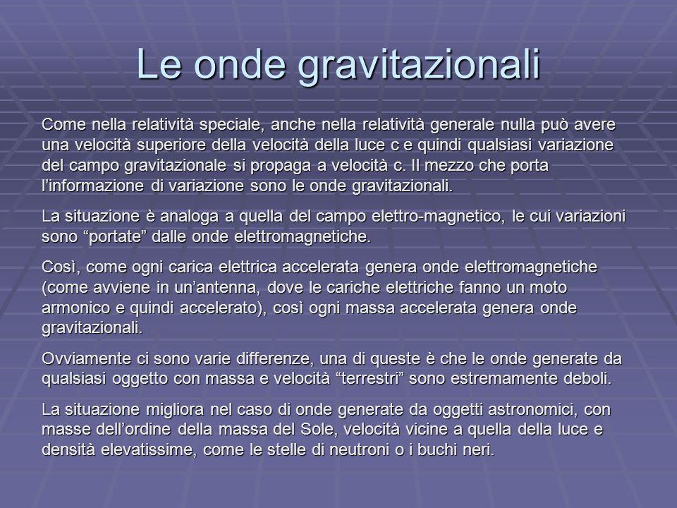 Le onde gravitazionali Come nella relatività speciale, anche nella relatività generale nulla può avere una velocità superiore della velocità della luce c e quindi qualsiasi variazione del campo gravitazionale si propaga a velocità c.