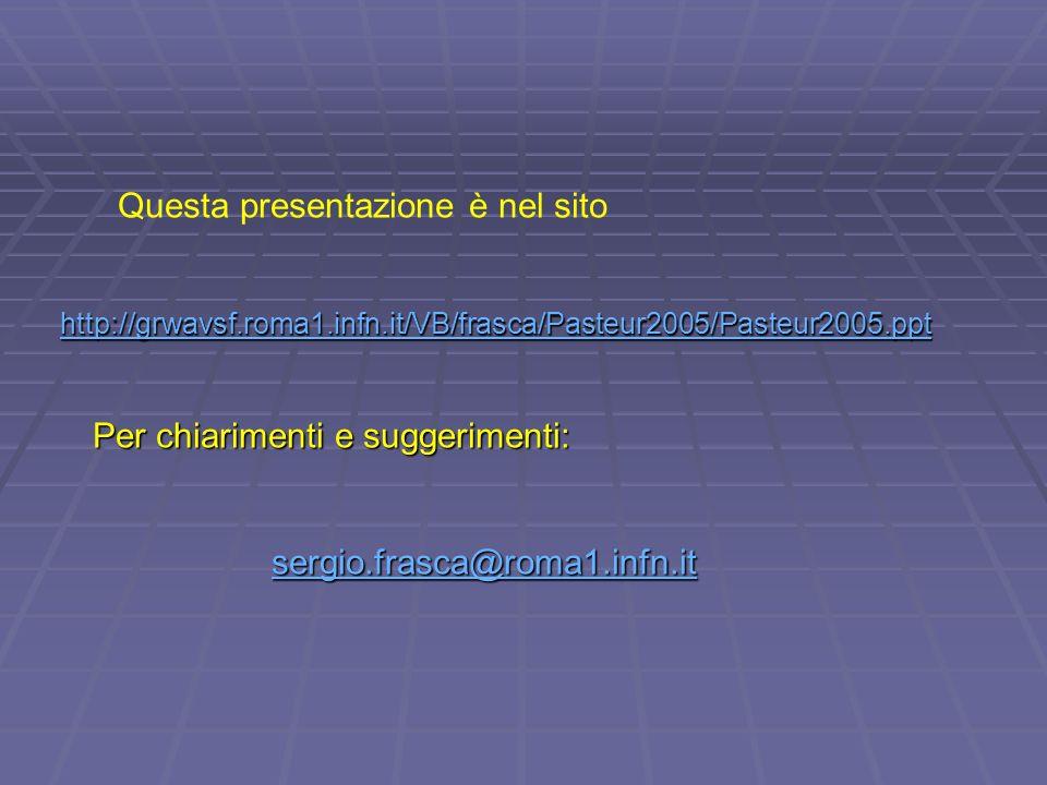 Questa presentazione è nel sito http://grwavsf.roma1.infn.it/VB/frasca/Pasteur2005/Pasteur2005.ppt Per chiarimenti e suggerimenti: Per chiarimenti e suggerimenti: sergio.frasca@roma1.infn.it sergio.frasca@roma1.infn.itsergio.frasca@roma1.infn.it