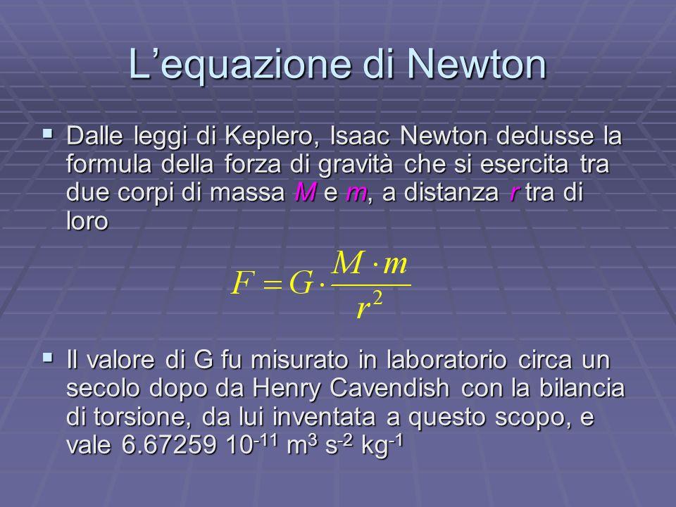 Lequazione di Newton Dalle leggi di Keplero, Isaac Newton dedusse la formula della forza di gravità che si esercita tra due corpi di massa M e m, a di