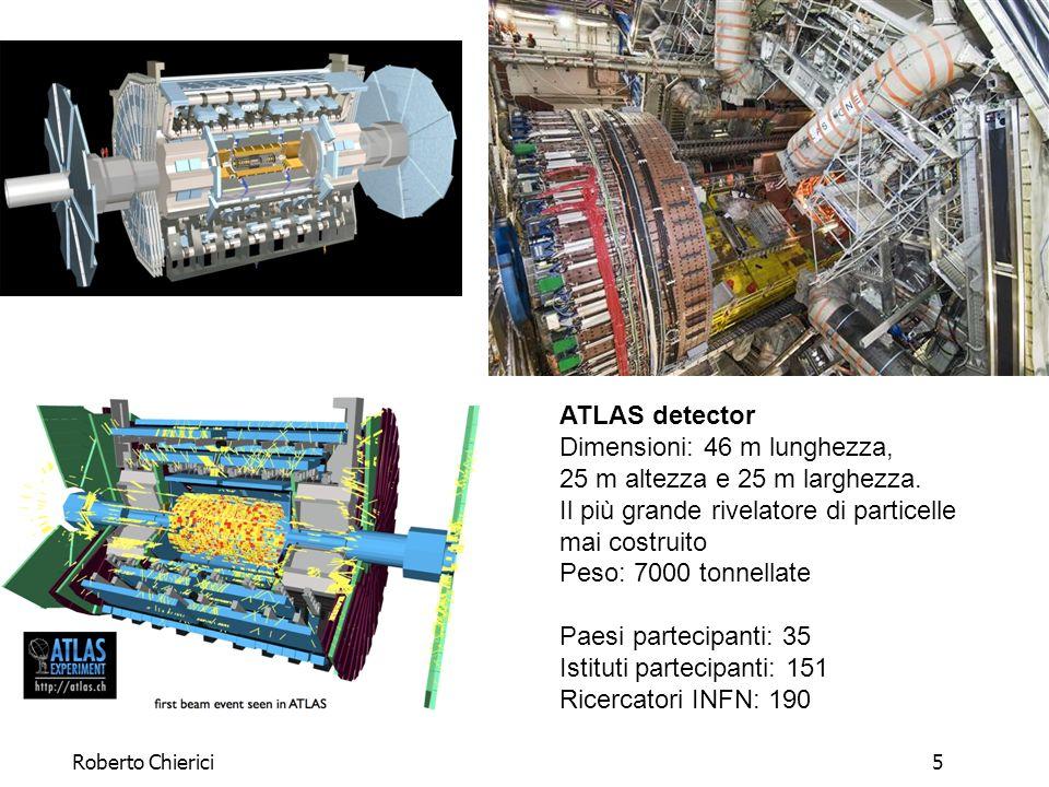 Roberto Chierici6 ALICE detector Dimensioni: 26 m lunghezza, 16 m altezza, 16 m larghezza Peso: 10 000 tonnellate Paesi partecipanti: 28 Istituti partecipanti: 78 Ricercatori INFN: 150