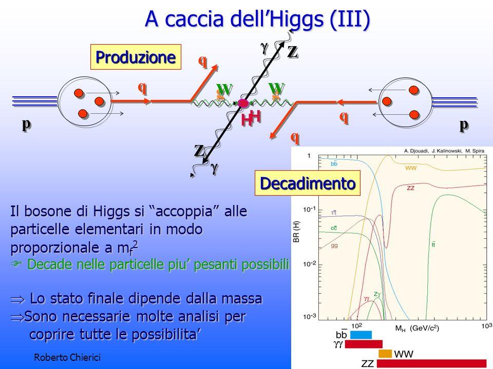 Roberto Chierici6 Il bosone di Higgs si accoppia alle particelle elementari in modo proporzionale a m f 2 Decade nelle particelle piu pesanti possibili Decade nelle particelle piu pesanti possibili Lo stato finale dipende dalla massa Lo stato finale dipende dalla massa Sono necessarie molte analisi per Sono necessarie molte analisi per coprire tutte le possibilita coprire tutte le possibilita p p q q q q g g g g H H p p q q q q W W W W H H Z Z Z ZProduzione Decadimento A caccia dellHiggs (III)