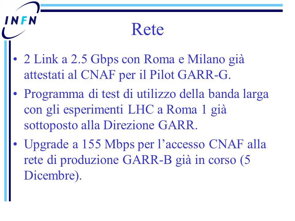 Rete 2 Link a 2.5 Gbps con Roma e Milano già attestati al CNAF per il Pilot GARR-G.