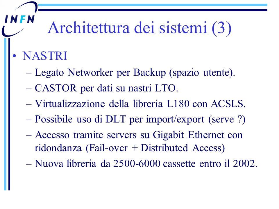 NASTRI –Legato Networker per Backup (spazio utente).