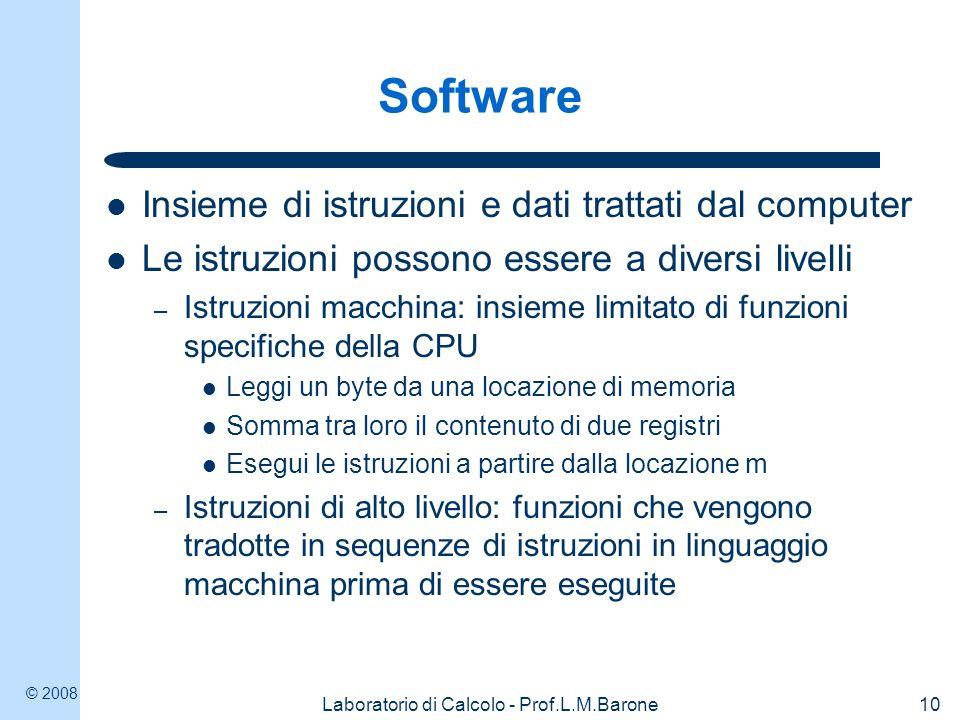 © 2008 Laboratorio di Calcolo - Prof.L.M.Barone10 Software Insieme di istruzioni e dati trattati dal computer Le istruzioni possono essere a diversi l