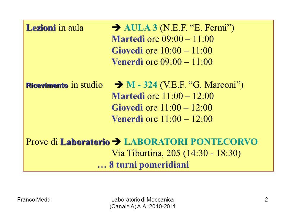 Franco MeddiLaboratorio di Meccanica (Canale A) A.A. 2010-2011 2 Lezioni Lezioni in aula AULA 3 (N.E.F. E. Fermi) Martedì ore 09:00 – 11:00 Giovedì or